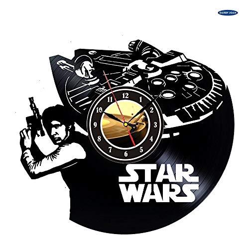 UIOLK Diseño Decorativo del Reloj de Pared del Disco de Vinilo, decoración de la Pared del Dormitorio del Tema del Reloj de Pared del Disco de Vinilo Negro