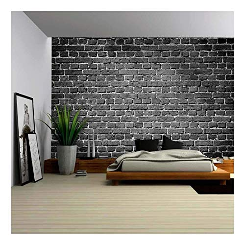 wall26 Old Dark Brick Wall, Texture Background - Removable Wall Mural   Self-Adhesive Large Wallpaper - 66x96 inches