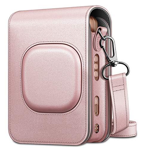 Fintie Tasche für Fujifilm Instax Mini LiPlay hybrid Sofortbildkamera - Premium Schutzhülle Reise Kameratasche Hülle Abdeckung mit abnehmbaren Riemen, Roségold
