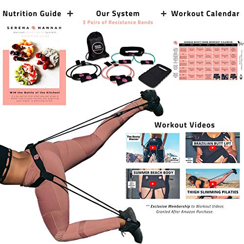 Hannah Booty Band System with Workout Videos, 30 Day Calendar, Nutritional Guide, Full Brazilian Butt Lift Workout Program, 3 Resistance Exercise Bands, Waistband, Mat. Sculpt Your Butt.