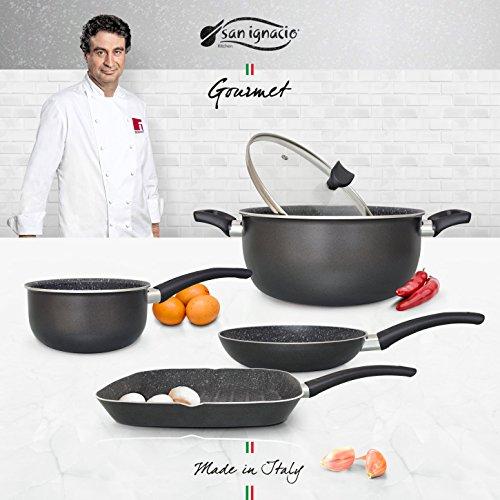 San Ignacio Set Causal kookgerei Gourmet, aluminium, donkergrijs, steelpan/grillpan/apparaat met glazen deksel, 28 x 28 cm/20 cm/16 cm