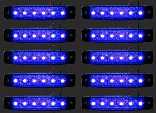 24/7Auto L0051 10 X Led Lampes Marqueur Côté 24 V Pour Camion Remorque Caravane Bleu