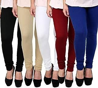 Super weston Women's Cotton Churidar Leggings (68884852, Multicolour, Free Size) -Combo Pack of 5