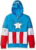 Marvel Boys' Little Captain America Costume Zip-up Hoodie, Blue, 7