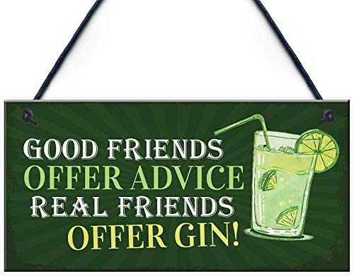 MAIYUAN Wooden Sign with Quotes Good Friends Offer Advice Real Friends Offer Gin Garden Plaque Shed Home Bar Pub Alcohol Kitchen Hanging Wall Plaque Gift 10x5(CYL713)
