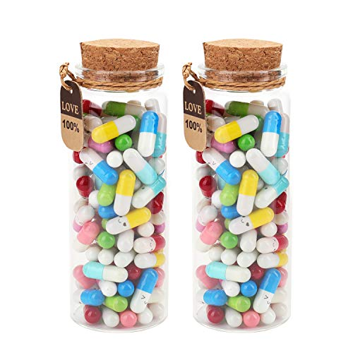 Suwimut 200 Pieces Capsule Letters Message in 2 Glass Favor Bottles, Cute Smiling Face Love...