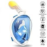 Zenoplige Schnorchelmaske Tauchmaske mit 180° Breitsicht mit Schnorchel und Anti-Beschlag, Blau...
