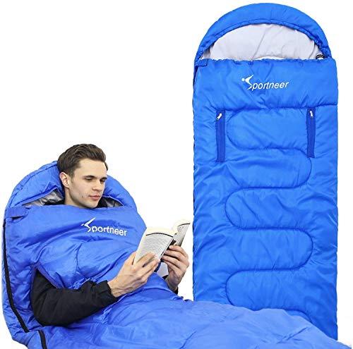 Sportneer Anziehbarer Schlafsack, tragbarer 4-Jahreszeiten-Schlafsack mit Reißverschluss für Arme und Füße, Einzel-Schlafsack-Strampelanzug für Kinder und Erwachsene, Camping, Wandern, Reisen (Blau)
