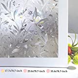 Bloss Window Privacy Film Decorative Flower Pattern Design Window Covering Static Cling Vinly Glass Film Non Adhesive Heat Control Anti UV (17.7 inches by 78.7 inches)
