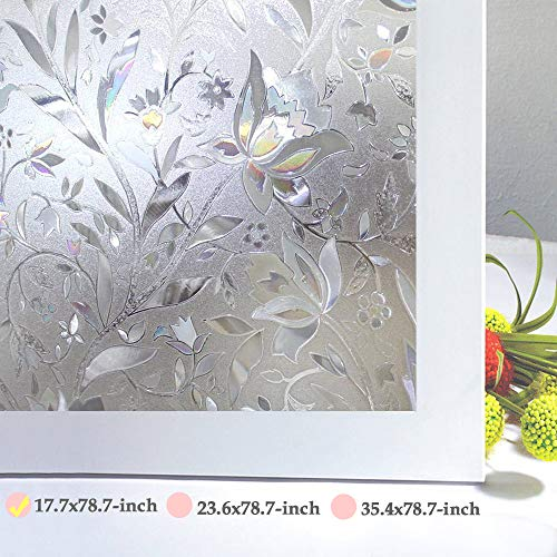 Niviy Window Privacy Film Decorative Flower Pattern Design Window Covering Static Cling Vinly Glass Film Non Adhesive Heat Control Anti UV (17.7 inches by 78.7 inches)