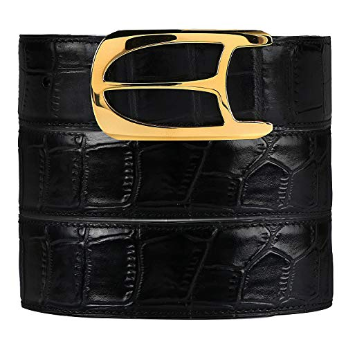 Luxury Alligator cowhide Belts for men, by hand-woven, Stainless Steel buckle with gift box (Golden buckle with Black leather-3.8A, Pant waist32'-35',Belt size33'-36')