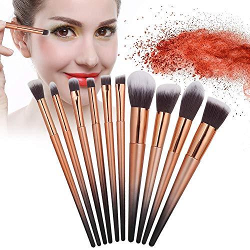 Ensemble de pinceaux de maquillage 10 pièces, pinceau de maquillage en fibre artificielle pour base de fard à paupières Ensemble complet de pinceaux de maquillage(#2)