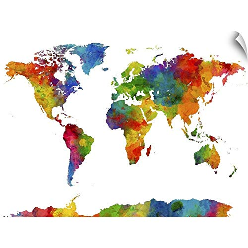 CANVAS ON DEMAND Map of The World Watercolor Wall Decal, 60'x45'