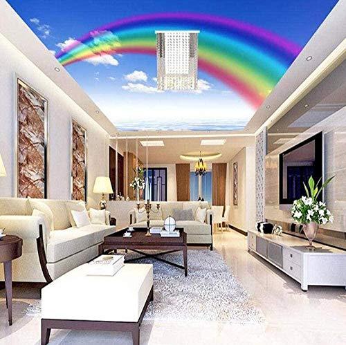 rylryl Papel tapiz 3D tela de seda no tejida papel tapiz fotográfico individual sueño arco iris cielo azul nube blanca techo pintura dibujos animados niños dormitorio fondo pared-300x210cm