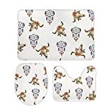 Yilooom 3-Piece of Non Slip Bath Rugs Set Including Bathroom Mat Contour Mat Toilet Lid Cover Home Doormat 18 X 30 Inch, Boho Longhorn Cow Skull with Feathers