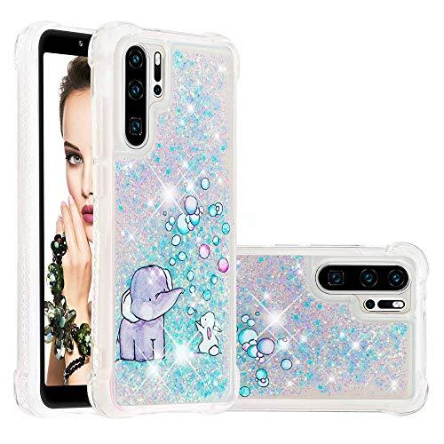 Glitzer Flüssig Hülle für Huawei P30 Pro, Bling Sparkle Treibsand Handyhülle Transparent mit Muster Elefant und Hase Design Weich TPU Silikon Stoßfest Schutzhülle
