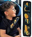 1x Protector para cinturón de seguridad HECKBO®, protector de hombros, almohadilla para el hombro, almohadilla para el cinturón de seguridad, para niños, con dibujos de vehículos de construcción