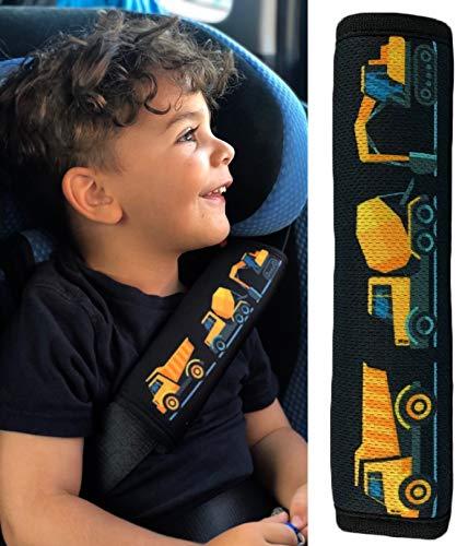 1x HECKBO® Auto Gurtschutz Sicherheitsgurt Schulterpolster Schulterkissen Gurtschoner Autositze Gurtpolster für Kinder, Jungen Jungs mit Baufahrzeuge, Bagger