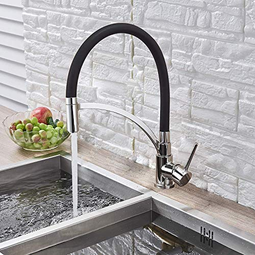 AXWT Best Commercial Single Handle High Arc Pull Down Sprayer Kitchen Sink Faucet, Lead Free Single Pull-out Kitchen Faucets With Deck Hot And Cold Taps Kitchen,90° Swivel Spout, Comfort Spray Head