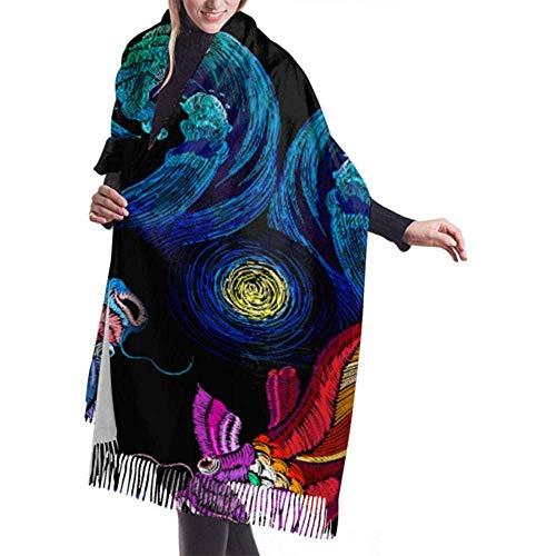Laglacefond wintersjaal kasjmier feel koi vis karper blauwe zeep sjaal wraps zachte warme deken sjaals