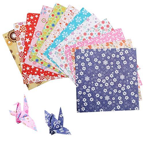LAITER 144 Blatt Origami-Papier Farbig Quadratisch DIY Faltpapier Dekoration Handwerk Origami-Papier Für Kinder Erwachsene Kunsthandwerk Projekte Faltkranich Blumenflugzeug Herz Stern (15 x 15 cm)