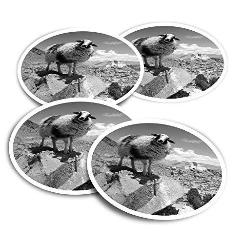 Adesivi in vinile (set di 4) 10 cm – BW – tibetano pecora montagna animale divertente decalcomanie per computer portatili, tablet, bagagli, libri di rottami, frigoriferi #36501