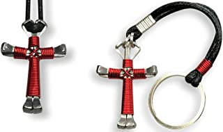 Horseshoe Nail Cross Necklace & Key Chain Gift Set