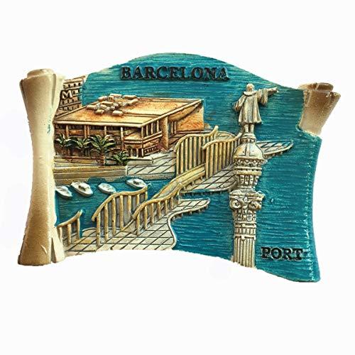 Port of Barcelona Spanien 3D-Kühlschrankmagnet, Souvenir, Geschenk, Dekoration für Zuhause und Küche, Magnet-Aufkleber, Barcelona Spanien Kühlschrank-Magnet-Kollektion