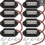 12V 6 LED License Plate Light Waterproof License Plate Lamp Taillight for Truck SUV Trailer Van RV Trucks and Boats License Tags (8 Packs)