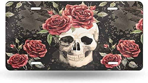 XCNGG Placa de matrícula con Calavera y Rosa roja, Etiqueta de tocador, Placa Frontal Decorativa novedosa de Aluminio de 6 x 12 Pulgadas