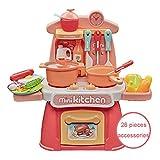 YINGZU Kinder Küche Spielset, Mini Küche Pretend Play Schneiden Speisen Set Kochgeräte, Spaß Spielküche Tisch Spielzeug-Sets Geschenk für Jungen & Mädchen im Alter von 3 4 5 6,Rosa