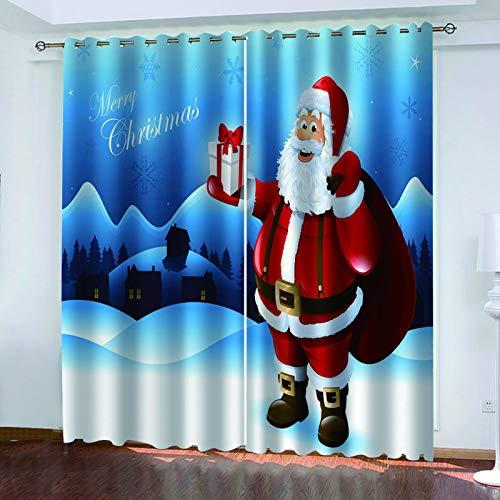 MMHJS Cortinas De Tela Impresas En 3D De Navidad, Cortinas De Sombrilla para Dormitorio Y Sala De Estar, Aislamiento Impermeable Y Térmico, Suministros para Muebles (2 Piezas)