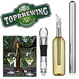 TopBrewingTM - Refroidisseur de bouteille de vin avec bec verseur - Conçu pour garder votre vin au frais - Barre de refroidissement en acier inoxydable avec aérateur de vin