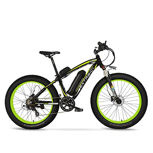 Cyrusher Extrbici XF660 Electric Fat Bike Mountain Bicycle Snow Bike Cruiser Ebike 500W Motor 48V Lithium Battery Dual Oil Brakes with Shimano 7 Speeds System 4.0 inch Fat Tire Suspension Fork
