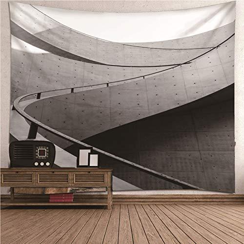 Daesar Tapices Pared 3D,Edificio de Escalera Tapiz Exterior Tapices Tela Poliéster Gris 200x200CM(Ancho x Altura)