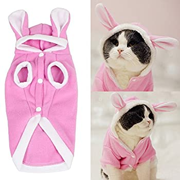 Bro Bear Plush Rabbit Outfit with Hood & Bunny Ears for Small Dogs & Cats Pink  Small