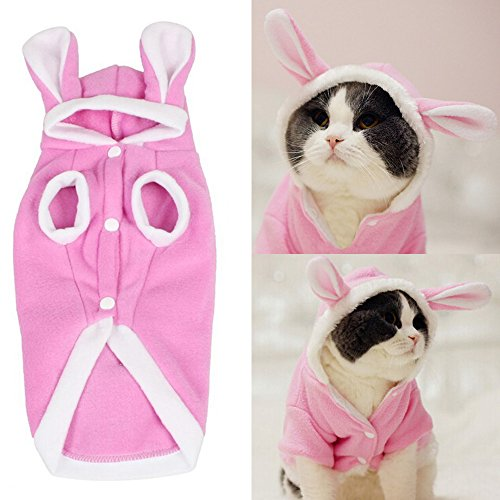 BroBear Plush Rabbit Outfit with Hood & Bunny Ears for Small Dogs & Cats Pink (X-Small)