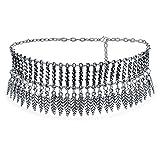 bling jewelry coachella festival penzoloni piuma largo choker collana per donna per adolescente ossidato argento placcato