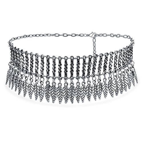 Bling Jewelry Americano Nativo Festival Coachella Colgando Plumas Collar Gargantilla Ancha Mujer Adolescente Chapado Plata Oxidada