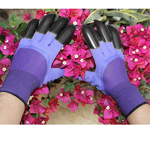 Garden Genie Gloves, Waterproof Garden Gloves with Claw For Digging Planting, Best Gardening Gifts for Women and Men. (Purple)