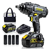 RIDA 20V Impact Wrench, 1/2 inch, 295 Ft-lbs, 4000mAh Lithium-ion Battery with Fast Charger, 4 Pcs Drive Impact Sockets and Tool Bag