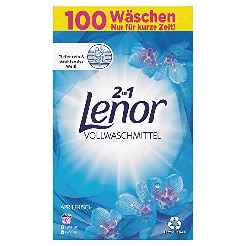 Lenor Waschmittel Pulver, Waschpulver, Vollwaschmittel,100 Waschladungen, Lenor Aprilfrisch mit Duft von Frühlingsblumen (6.5 kg)
