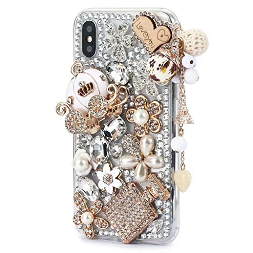 iPhone Xr Shiny Rhinestone Case,iPhone Xr Bling Diamond Case,FreeAir 3D Handmade Crystal Bling Diamonds Shiny Rhinestone Pumpkin Car Soft Case for iPhone Xr (6.1 inch)