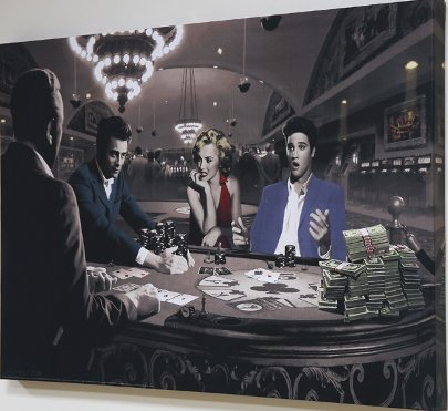 Scorpio Posters Royal Flush - Elvis Presley, James Dean & Marilyn Monroe Black & White Canvas Print - 24' x 36'