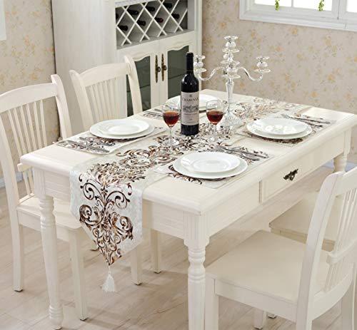 FHFF Tafelkleed Nieuwe Mode Moderne Europese Stijl Luxe Klassieke Tafelkleed Bed Handdoek Eetlakens Home Decor W32 L180 Zwart