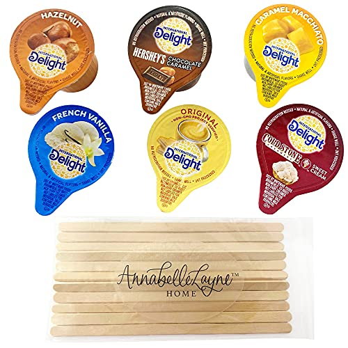 International Delight Variety Pack: 6 Flavor Assortment of Coffee Creamer Cup Singles with Stirrers Travel Friendly Disposable Liquid Non-Dairy for Great Tasting Coffee - 36 Pack / Pods