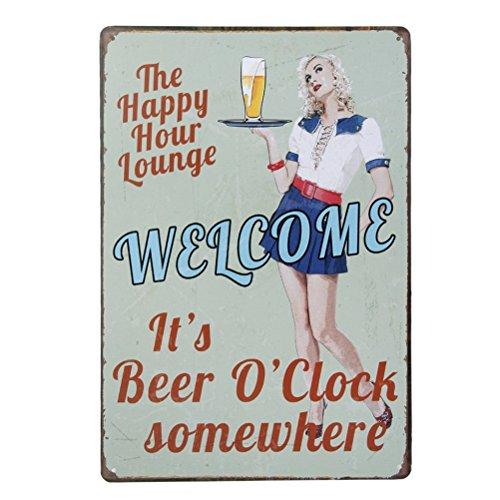 ULTNICE Vintage Metall Post Bar unterzeichnet Plauge Tin Sign Werbung für Pub-Shop-Wand-Dekor, es ist Bier Uhr