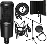Audio-Technica AT2020 Cardioid Condenser Microphone with XLR Cable, Spider Microphone Shockmount, Isolation Shield