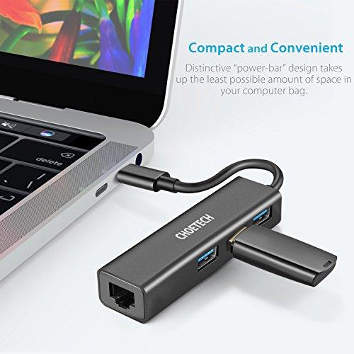 USB C auf LAN Adapter | USB C Ethernet Hub, USB Type C auf 3-Port-USB 3.0 Hub mit RJ45 Gigabit Ethernet LAN Netzwerk Adapter für MacBook, MacBook Pro, Chromebook Pixel und andere(Thunderbolt 3 Kompatibel) - 7