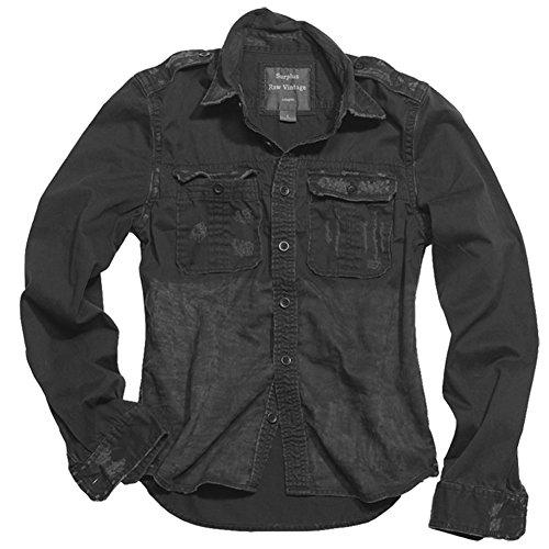 Surplus Chemise 1/1 Raw Vintage Shirt Slim Fit Schwarz S, Hommes, Casual/Fashion, Toute l'année, Noir